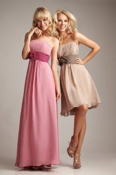 Champagne Chiffon Strapless Bridesmaid Dress with Flower Sash JSAB0002