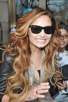 Demi Lovato: coppery hair color + blonde highlights. LOVE this Look
