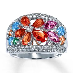 Color Obsession™ Sterling Silver Topaz Flower Ring  HAVE IT, LOVE IT!