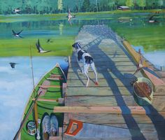 oil on canvas 138 x 2015 Nocturne, Shadows, Photo Art, Oil On Canvas, Cool Pictures, Fair Grounds, Paintings, Water, Dogs