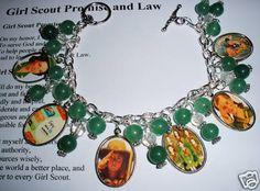 Cook idea for a bridging ceremony; you could also put images on Shrink paper and make shrinky dink charms.