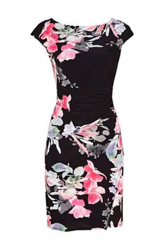 Wallis - Petite Black Floral Ruches Side Shift Dress - 2017