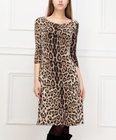 Another great find on #zulily! Reborn Collection Brown Leopard Scoop Neck Dress by Reborn Collection #zulilyfinds