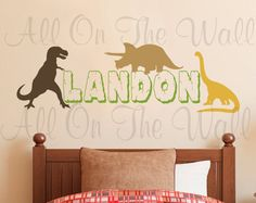 DINOSAUR WALL ART STICKER KIT BOYS GIRLS BEDROOM PERSONALISED NAME BED9