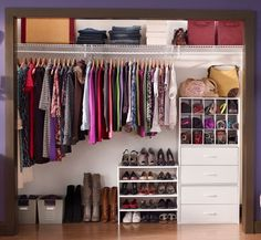 Wide Closet Organization.  I love that it goes from longest to shortest!