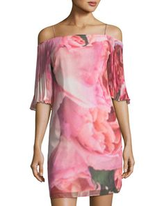 b1318d5ea16 Shop Cold-Shoulder Watercolor-Print Dress from Phoebe Couture at Neiman  Marcus Last Call