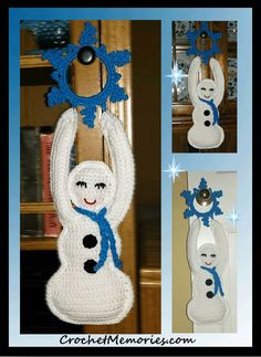 Miss Frosty is adorable hanging from a doorknob or coat tree. Holding a pretty snowflake and embellished with a matching scarf and big black buttons, she's sure to become a favorite in your household this year.