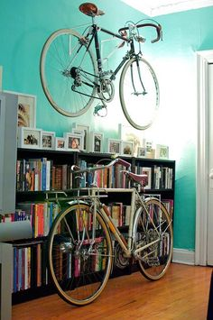 pretty bikes in a pretty home (via eBikeyo)