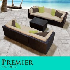 Outdoor Patio Wicker Furniture New Resin 8 Pc Square Dining Table