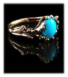Gold Sleeping Beauty Turquoise Wedding Ring by Nattarika Hartman of Durango Silver Company
