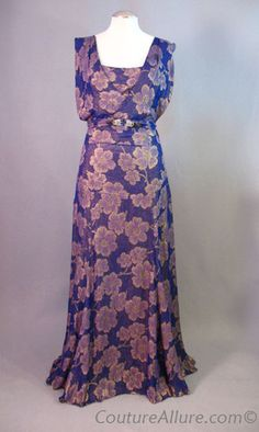 Vintage 30s Purple Silk Gold Lame Evening Gown Dress at Couture Allure Vintage Clothing - This is something the mother-of-the-bride cold wear if she didn't have such horrendous arms. To think this is a 1930's design! I think it is utterly gorgeous for some reason.