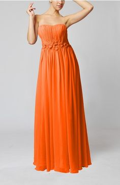 Tangerine Long Prom Dress Unique Open Back Western Full Figure Chic Trendy Classy