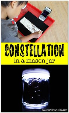 Bring the night sky indoors by making your own constellation in a mason jar. What a great craft for learning about the stars in space!    Gift of Curiosity