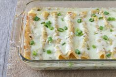 Easy to assemble, deliciously creamy and a great choice for once-a-month cooking. And there is NO canned cream soup in my enchiladas -- Hope you give them a try! Mexican Dishes, Mexican Food Recipes, Snack Recipes, Cooking Recipes, Mexican Entrees, Mexican Cooking, Freezer Cooking, Free Recipes, Cooking Tips