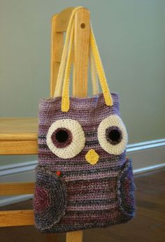 "Owl crochet bag pattern from Crochet today.  My adaption -- crochet up to beak and stop.  Keep circular ""wings"" and use as pockets."