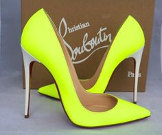 CHRISTIAN LOUBOUTIN BICOLOR FLUO YELLOW LEATHER SO KATE 120 PUMPS SHOES #stilettoheelslouboutin