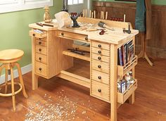 Hobby Bench Woodsmith #219 pg. 28   A beautiful looking bench that only needs very minor modifications to make a great jewelers bench.