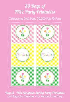 Bird's Party Blog: 30 Days of FREE Party Printables: Day 13: Gingham Spring Party Printables by Magnolia Creative