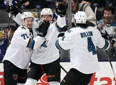 San Jose Sharks forward Tomas Hertl celebrates his goal with linemate Daniil Tarasov and defenseman Brenden Dillon (March 19, 2015).