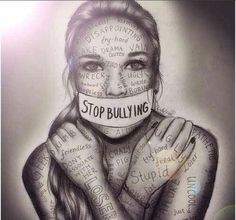 Bullying doesn't just have to be physical, it can be just as bad to be verbally abused from someone and that is what I think this picture is trying to show.