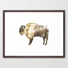 Bison Framed Art Print by THE AESTATE  *FREE SHIPPING ON ALL PRINTS until 2/8/15. Must use this link for promo to work:  http://society6.com/theaestate?promo=WBXZ3QFY7ZR8 #bison #buffalo #watercolor #art #cabin #nursery #wall art #print #decor #boho