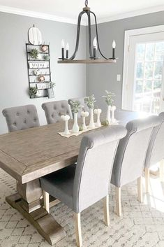 Wood Table With Soft Chairs In Modern Style ★ Industrial and modern, simple and intricate farmhouse table designs to consider adding to your décor. ★ farmhouse table centerpiece 27 Popular Farmhouse Table Ideas To Use In The Décor Modern Farmhouse Table, Industrial Farmhouse, Farmhouse Design, Chairs For Farmhouse Table, Farmhouse Ideas, Small Space Living, Living Spaces, Living Room, Soft Chair