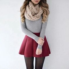 A pleasant outfit for the winter nouvelleco look tenue mode Mode Outfits, Dress Outfits, Fall Outfits, Women's Dresses, Skater Skirt Outfits, Skirt Outfits For Winter, Outfit Winter, Casual Christmas Outfits, School Outfits