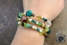 Green Boho multi-bracelet by Maiden Oregon Studios