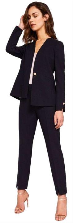 EX Evans Ladies Womens Smart Black Straight Leg Ankle Cuff Trousers