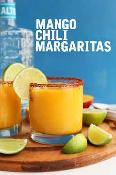 SIMPLE Mango Chili Lime Margaritas! Perfectly tart, sweet and spicy!