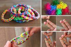 Fabriquez un bracelet en élastiques aux couleurs de l'arc-en-ciel