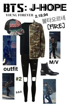 """""""BTS: J-HOPE """"Fire"""" M/V Outfit #2"""" by itzbrizo ❤ liked on Polyvore featuring Attilio Giusti Leombruni"""