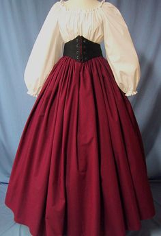 This lovely Long Skirt is Perfect for wearing for a Renaissance Faire, Pirate Wench, Victorian, Dickens or Civil War Costume Events. And, its