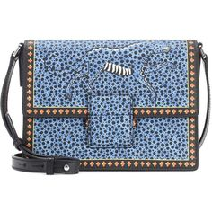 Etro Printed Leather Shoulder Bag ($845) ❤ liked on Polyvore featuring bags, handbags, shoulder bags, blue, leather handbags, shoulder bag purse, genuine leather shoulder bag, blue leather shoulder bag and blue leather handbags