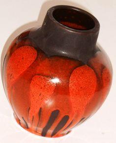Vintage orange German Steuler Art Pottery Vase door Tweedeleven, €25.00