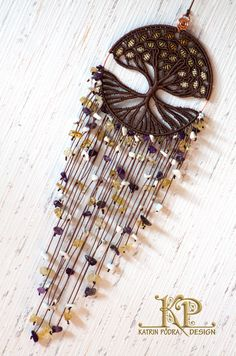 Micro macrame charm Tree of Life with citrine, amethyst, and howlite. Tree of…