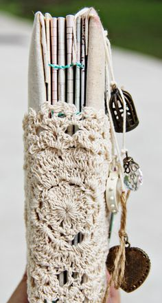Vintage doily idea as book spine by Wendy Kwok ~ it's on the next page of the link.