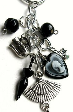 Beaded Keychain - Black and silver keychain with Victorian-inspired charms - Charmed Life, via Etsy.