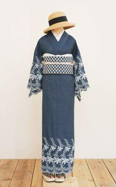 ◆新商品のおしらせ(スカラップ刺繍デニム着物・デニムレース京袋帯) | 着物、浴衣 さく研究所
