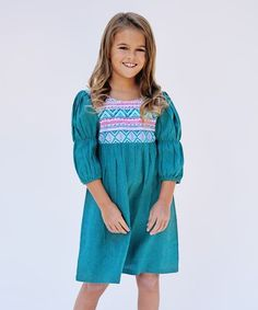 Pink & Teal Geometric Puff-Sleeve Dress - Toddler & Girls