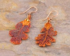 Fiery Copper Plated Oak Leaf Earrings by MaryMorrisJewelry on Etsy, $28.00