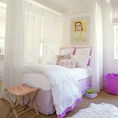 Little Girls Room - I love the curtains to separate the room.  Sheers would allow light through, but still give some privacy when they are sharing a space.