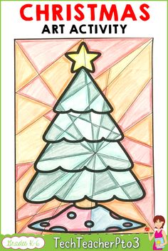 ed4d30798871 Christmas card craft activity exploring cool and warm colours for kids.  This art lesson will