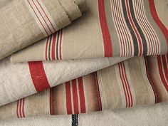 Vintage and Antique French linen ticking pieces