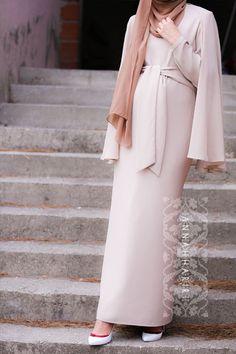 Maxi Modest Cape dress in Beige light colour www.annahariri.com