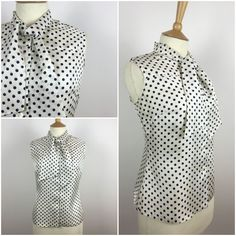 "Vintage 1950s Top - 50s Polka Dot blouse - Pussy Bow Tie Neck Shirt - Sleeveless Satin Blouse - Pinup Rockabilly UK 12-14 Medium Bust 39"" - by Marneys on Etsy"