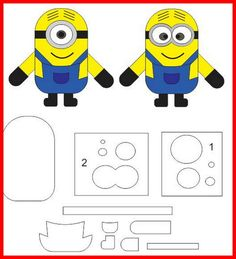 Faca de corte Apliques Minions Meu Malvado Favorito     (de braço a braço, 8,5 cm e de pe a cabeça, 8 cm) R$ 160,00 Felt Animal Patterns, Felt Crafts Patterns, Puppet Patterns, Stuffed Animal Patterns, Fondant Minions, Minion Template, Minion Pattern, Minion Birthday, Minion Party