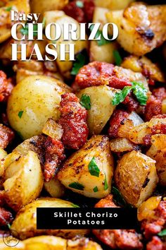 This Chorizo Hash is so quick and easy to make, packed with flavor and perfect as a side dish or a breakfast recipe. The chorizo and potatoes are cooked in a skillet with onions and garlic, packing so Potato Dishes, Potato Recipes, Pasta Recipes, Dinner Recipes, Cooking Recipes, Healthy Recipes, Brunch Recipes, Cooking Ideas, Drink Recipes
