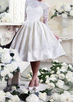 S,M,L,Vintage,Solid,Boat Neck,Long Sleeve,Ball Gown,White,Lace,Knee Length, S: 36cm M: 37cm L: 38cm, S: 70-85cm M: 74-87cm L: 78-92cm, S: 64cm M: 66cm L: 68cm , S: 53cm M: 56cm L: 57cm, S: 77cm M: 78cm L: 81cm, 1 x Dress, Without Accessories