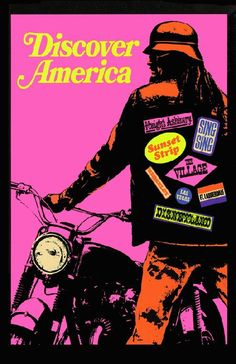 High quality reprinted psychedelic art print poster titled Discover America from 1968. 11 x 17 high quality reproduction on card stock.